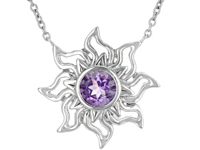"Purple Amethyst Rhodium Over Silver ""February Birthstone"" Necklace .64ct"
