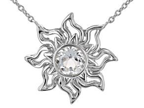 "White Topaz Rhodium Over Silver ""April Birthstone"" Necklace .89ct"
