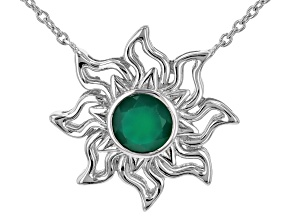 """Green Onyx Rhodium Over Silver """"May Birthstone"""" Necklace"""