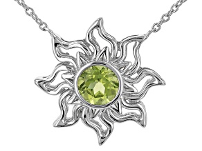 "Green Manchurian Peridot™ Rhodium Over Silver ""August Birthstone"" Necklace"
