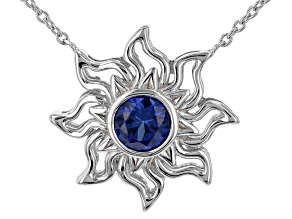 """Blue Lab Created Sapphire Rhodium Over Silver """"September Birthstone"""" Necklace .82ct"""