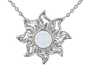 """White Lab Created Opal Rhodium Over Silver """"October Birthstone"""" Necklace"""