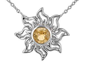 "Yellow Citrine Rhodium Over Silver ""November Birthstone"" Necklace .65ct"