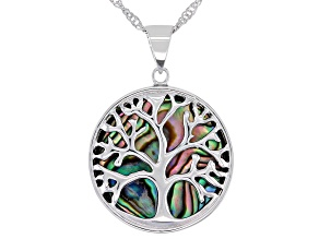 Multi-Color Abalone Shell Rhodium Over Brass Pendant With Chain
