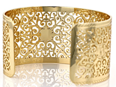 14k Gold Over Brass Filigree Cuff Bracelet