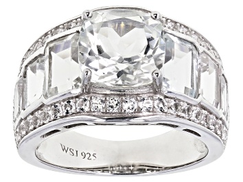 Picture of White Topaz Rhodium Over Sterling Silver Ring 7.35ctw