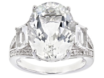 Picture of White Topaz Rhodium Over Sterling Silver Ring 9.79ctw