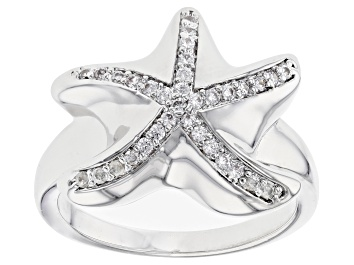 Picture of White Crystal Silver Tone Starfish Ring
