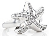 White Crystal Silver Tone Starfish Ring