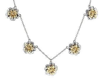Picture of Two-Tone Floral Charm Necklace