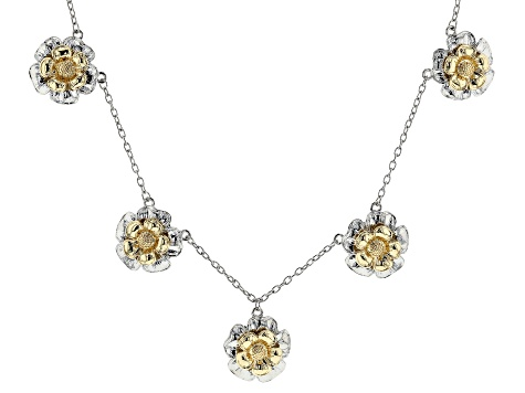 Two-Tone Floral Charm Necklace