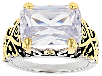 Picture of White Crystal 14k Gold And Rhodium Over Brass Ring