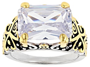 White Crystal 14k Gold And Rhodium Over Brass Ring