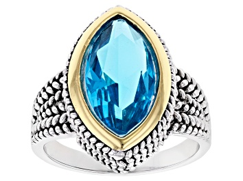 Picture of Blue Crystal 14k Yellow Gold And Rhodium Over Brass Two-Tone Ring