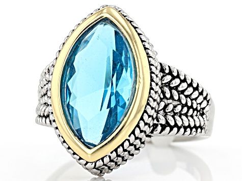 Blue Crystal 14k Gold And Rhodium Over Brass Two-Tone Ring
