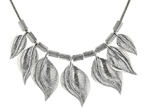 Silver Tone Graduated Leaf Necklace