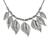 Silver Tone Graduated Leaf Necklace