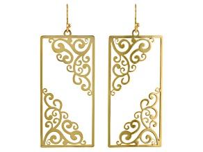 14k Gold Over Brass Filigree Cut Out Dangle Earrings