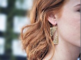 14k Gold Over Brass Filigree Cut Out Dangle Earrings