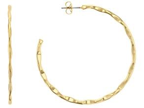 14k Gold Over Brass J-Hoop Earrings
