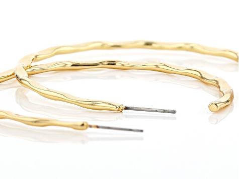 14k Gold Over Brass J-Hoop Earrings