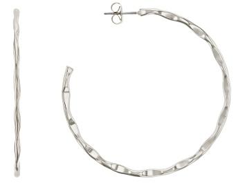 Picture of Silver Tone J-Hoop Earrings