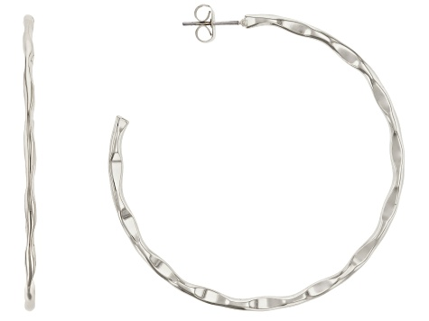 Silver Tone J-Hoop Earrings