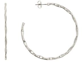 Silver Tone J-Hoop Earrings