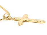14k Gold Over Brass Cross Pendant With Chain