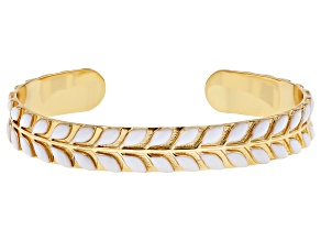 White Enamel 14K Gold Over Brass Cuff Bracelet