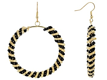 Picture of Black Bead Gold Tone Circle Dangle Earrings