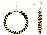 Black Bead Gold Tone Circle Dangle Earrings