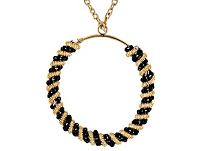 Black Bead Gold Tone Circle Pendant With Chain