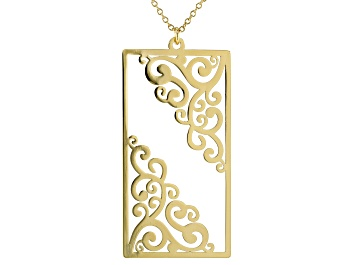 Picture of 14k Gold Over Brass Filigree Cut Out Pendant With Chain