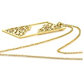 14k Gold Over Brass Filigree Cut Out Pendant With Chain