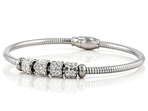 White Crystal Stainless Steel Bangle Bracelet