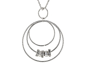 White Crystal Silver Tone Pendant With 30