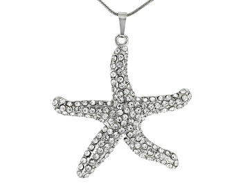 "Picture of White Crystal Silver Tone Starfish Pendant With 26"" Chain"