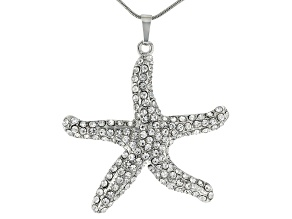 "White Crystal Silver Tone Starfish Pendant With 26"" Chain"