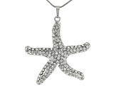 White Crystal Silver Tone Starfish Pendant With 26