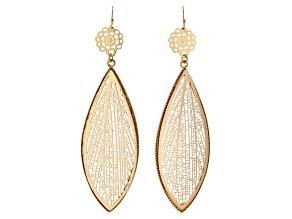 Gold Tone Leaf Design Earrings
