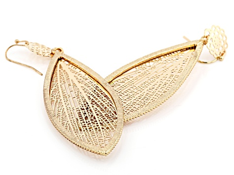 Gold Tone Leaf Design Earrings