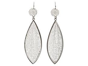 Silver Tone Cut Out Leaf Dangle Earrings