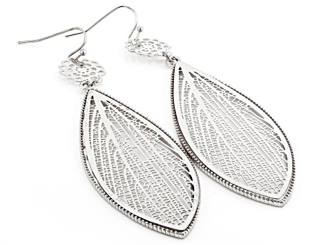 Silver Tone Cut Out Leaf Dangle Earrings