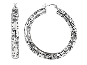 Rhodium Over Brass Floral Hoop Earrings