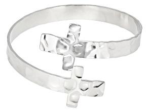 Silver Tone Cross Bracelet