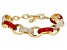 Red Enamel Gold Tone Nautical Bracelet
