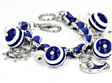 Blue And White Acrylic Bead Silver Tone Nautical Charm Bracelet