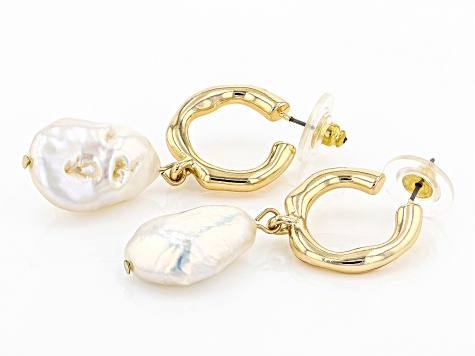 White Pearl Simulant Gold Tone Hoop Earrings