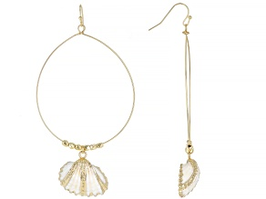 Shell Simulant Gold Tone Seashell Hoop Earrings
